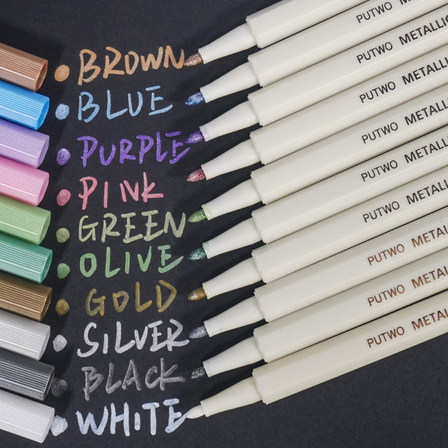10 Assorted Colours Metalic Marker Pens