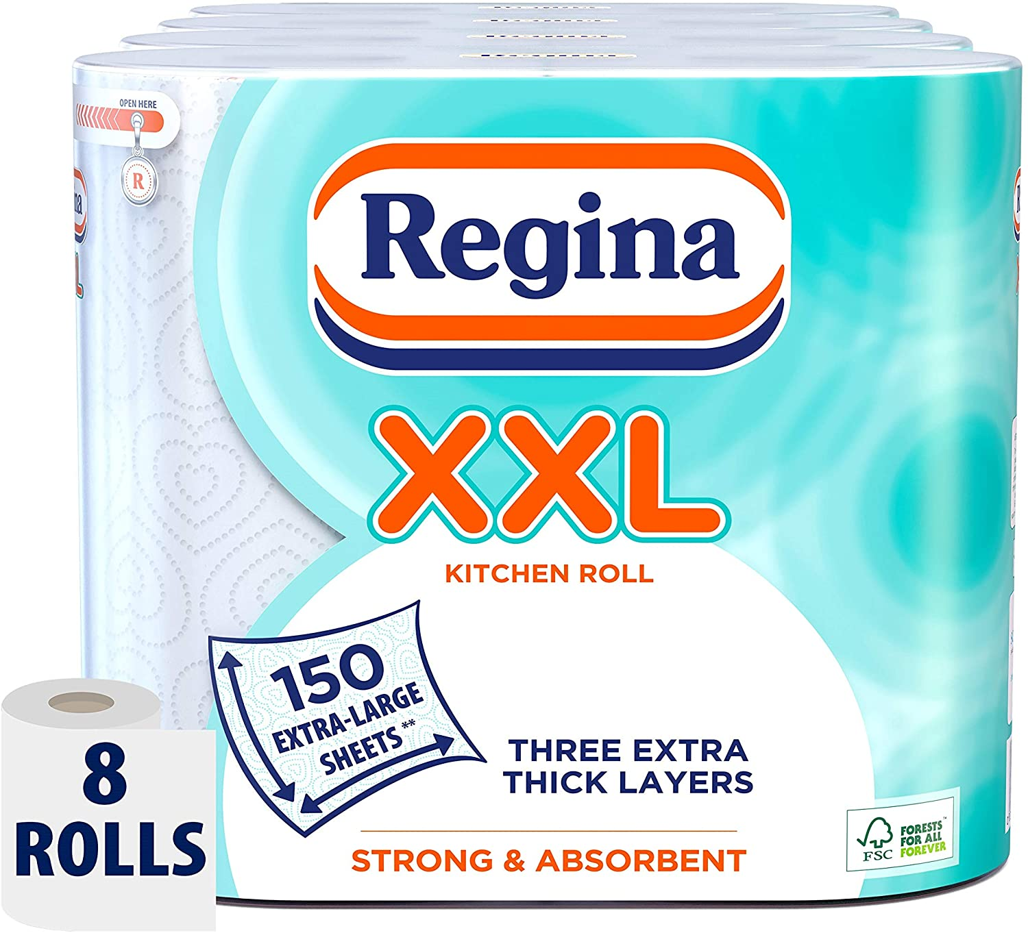 Regina XXL Kitchen Roll, 8 Rolls, 600 Extra Large Sheets