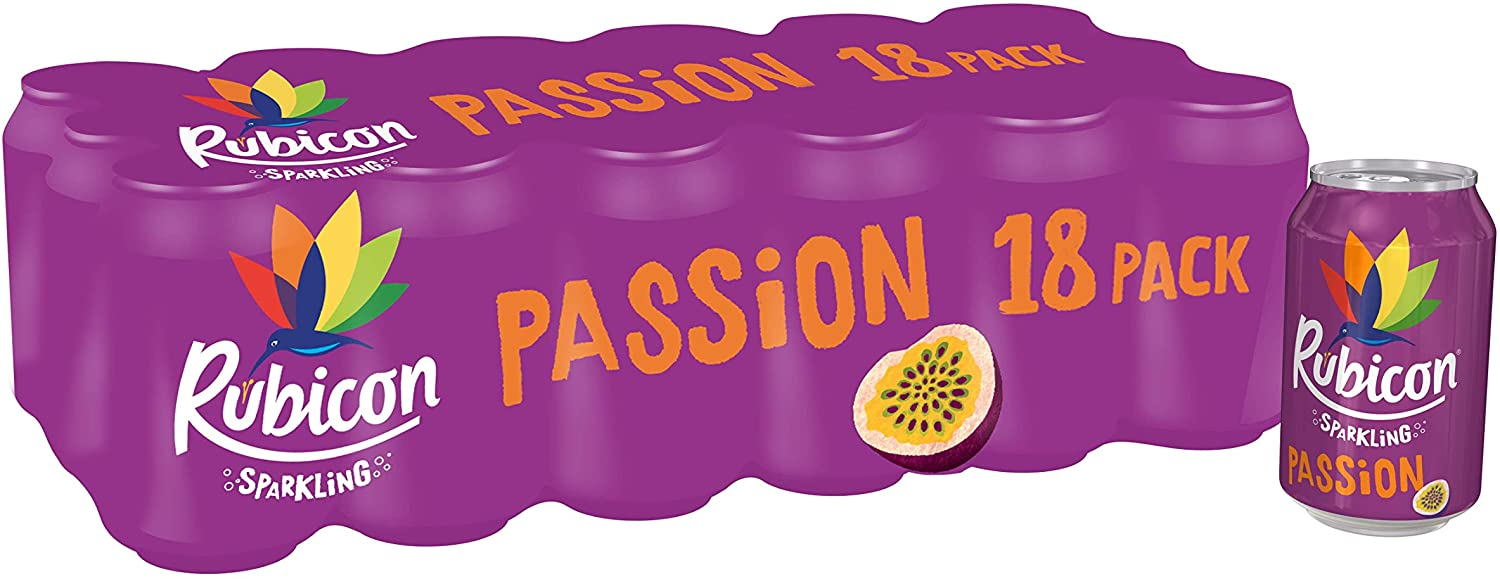 Rubicon Sparkling passion fizzy cans