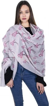 Kukubird Flamingo Unicorn Print Frayed Cotton Scarf Shawl