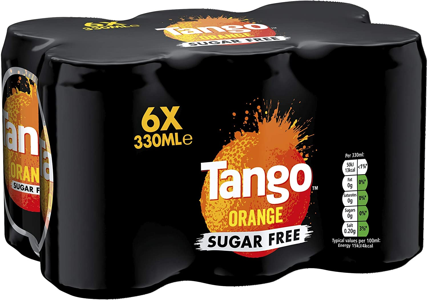 Tango Orange Sugar Free Soft Drink 330 ml Pack of 6