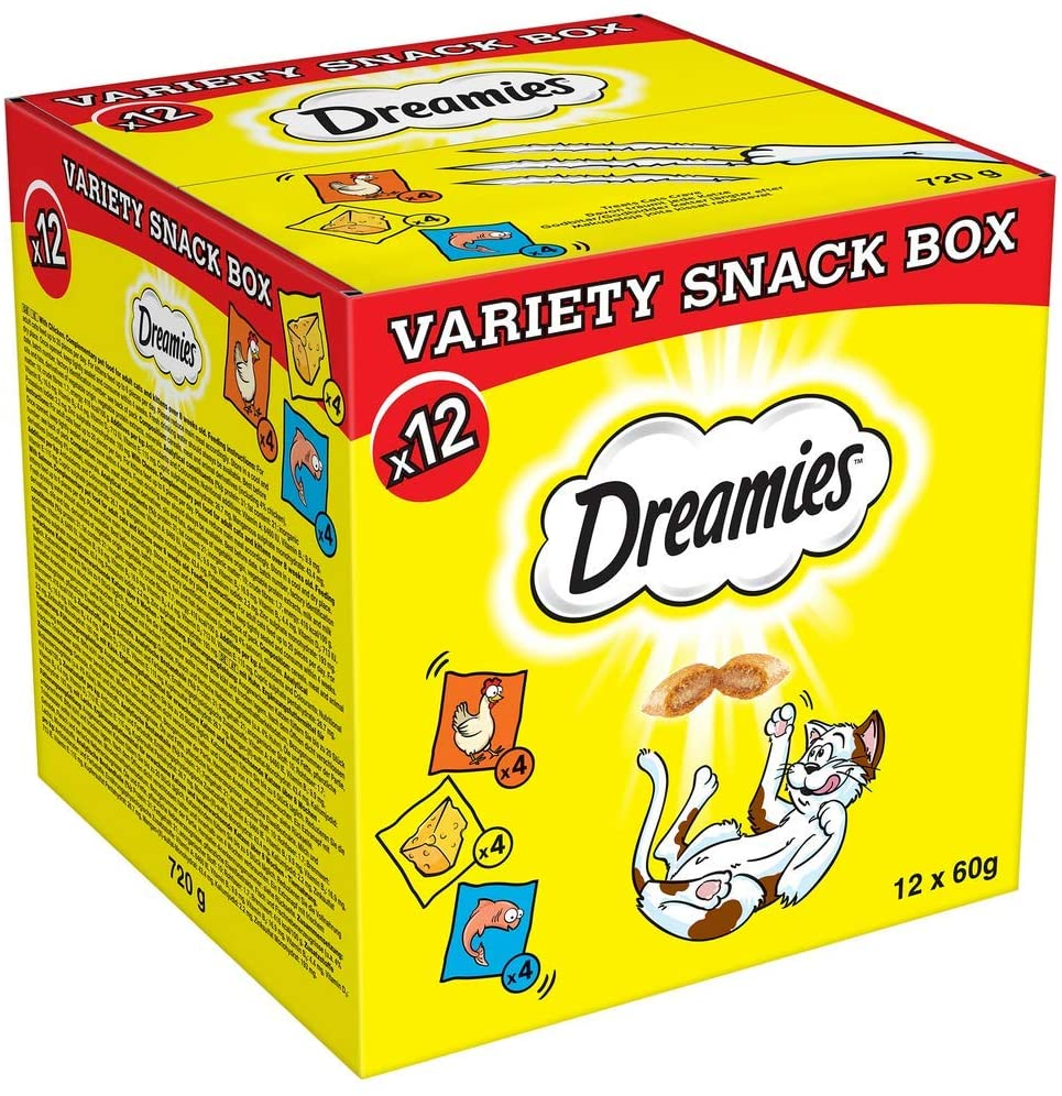 Dreamies Cat Treats Variety Pack 12 Pouches of 60 g