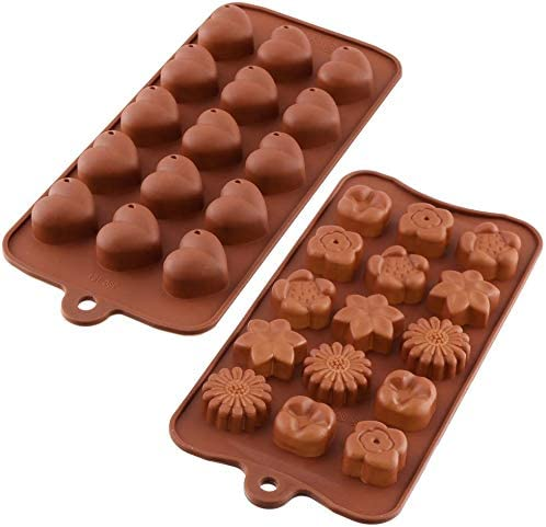 Heart Silicone Chocolate Candy Mould+ Flowers Shape Cake Candy Mould