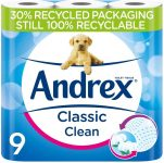 Andrex Classic Clean Toilet Tissue, 9 Rolls