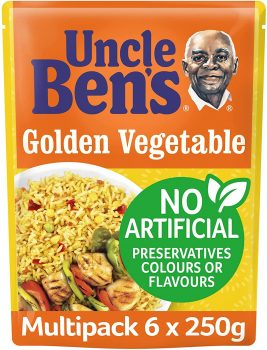 Uncle Bens Golden Vegetable Microwave Rice, Bulk Multipack 6 x 250 g pouches