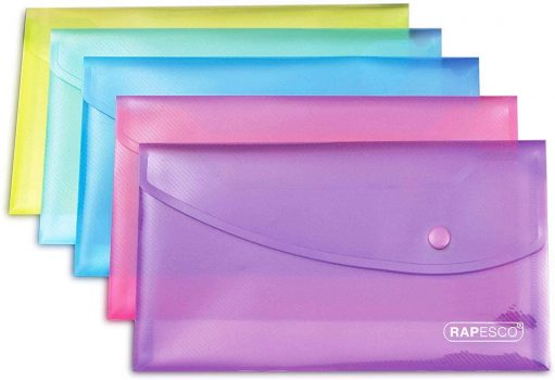Rapesco DL Bright Transparent Popper Wallet Assorted Colours Pack of