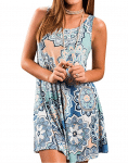 Summer Casual Round Neck Sleeveless Floral Printed Dress
