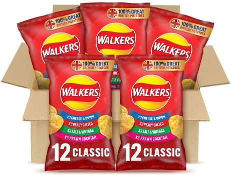 Walkers Classic Variety Multipack Crisps Box Single Bags
