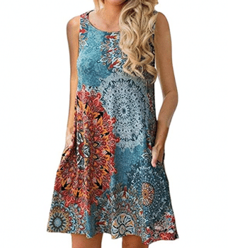 Women's Round Neck Floral Printed Dress