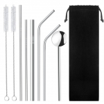 Stainless Steel Straws, Reusable Metal Drinking Straws, 2 Cleaning Brushes, Carrier Bag