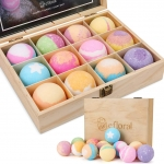 12pcs Bath Bombs Gift Set Retro Wooden Box