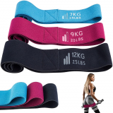 3 Set Fabric Fitness Exercise Loop Bands