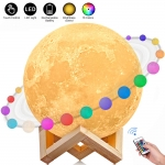 3D Printed 16 Colors LED Moon Light with Stand