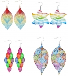 4 Pair Retro Earring Hollow & Lightweight Boho Style Dangle Drop Earrings