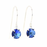 925 sterling silver drop earrings made with sparkling Bermuda blue Crystal