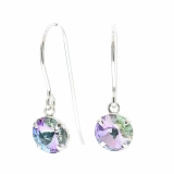 925 sterling silver fish hook earrings made with sparkling starlight crystal from swarovski