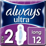 Always Ultra Long Size 2 Sanitary Pads with Wings, Pack of 12