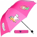 Color Changing Compact Kids Umbrella for Girls! This Totes Umbrella for Kids Displays Colorful Mermaid & Unicorns