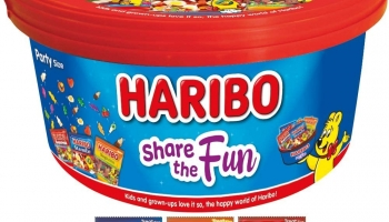 Haribo Share The Fun Mini Bags Sweets Tub, 600 g