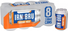 IRN-BRU Sugar Free Fizzy Drink Cans330 ml, (Pack of 8)