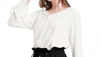 Kate Kasin Ladies Office Ruffled Sleeve Shirt Blouses 80% OFF
