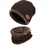 Warm Knitted Beanie Hat and Circle Scarf Set