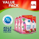 Dettol Refill Clean and Fresh Multipurpose Cleaning Spray Pomegranate, Pack of 4 x 1.2 litres