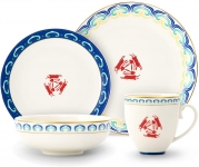 Durable Ceramic Dinner Plate Sets Plates, Bowls, Mugs, 4 Piece Service for 1