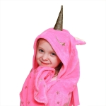 Kids Unicorn Hooded Blanket Soft Fleece Absorbent Toddler Throw