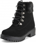 Leather Chunky Heel Waterproof  Winter Snow Boots for women