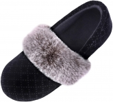LongBay Women's Velvet Faux Fur Lightweight Slippers Comfy Fleece Memory Foam House Shoes