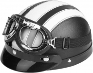 Motorcycle Scooter Synthetic Leather Open Face Half Helmet & Visor UV Goggles