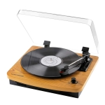 Wood Record Player with Built-in Stereo Speakers