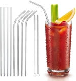Reusable drinking straws. 8 stainless steel straws