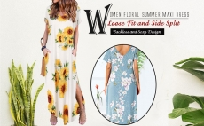 Shermie Women Maxi Dress Summer Floral Print Backless Short Sleeve