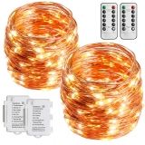 STARKER [Remote Control] 2 Pack STARKER Fairy Lights Warm White,10M 100 LEDs Battery Powered Copper String Lights