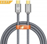 Type C to Type C Cable YONTEX 2M USB C 2.0 Durable Nylon Braided Cord