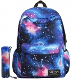 Unisex Galaxy School Backpack, GIM School Bag Canvas Backpack Laptop Book Bag Galaxy Leisure School Rucksack