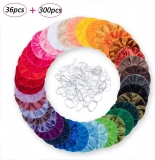 36 Pieces Velvet Hair Scrunchies With 300 Pieces Hair Bands