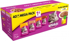Whiskas Wet Cat food Pouches, Delicious and Tasty Poultry Selection in Jelly 40 x 100 g