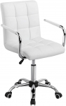 Adjustable White Leather Office Chair