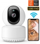Wireless 1080P FHD WiFi IP Indoor Camera with Night Vision Motion Detection 2-Way Audio Speed Playback